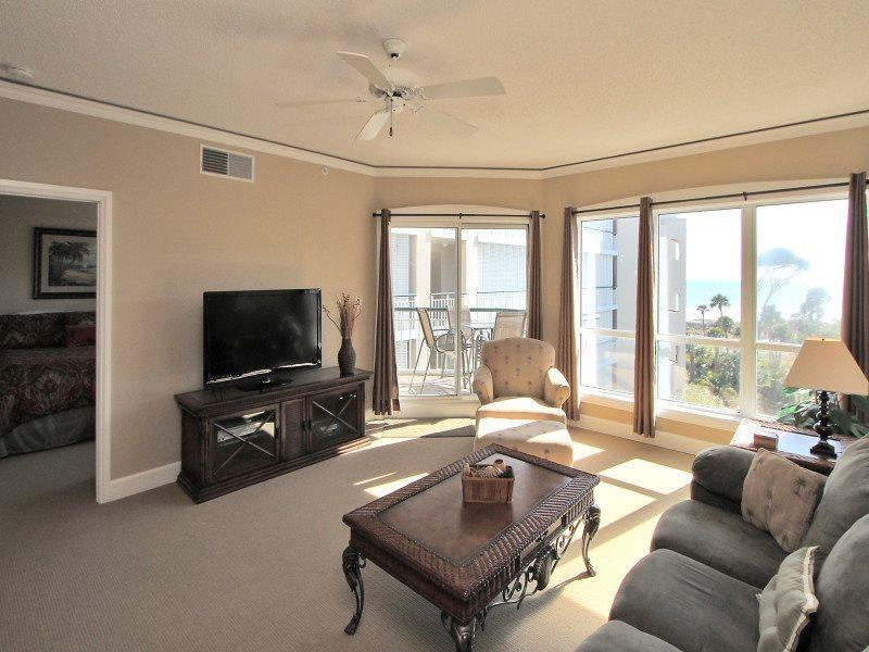 Living Room with Ocean Views at 3403 Windsor Court South - 3403 Windsor Court South - Palmetto Dunes - rentals