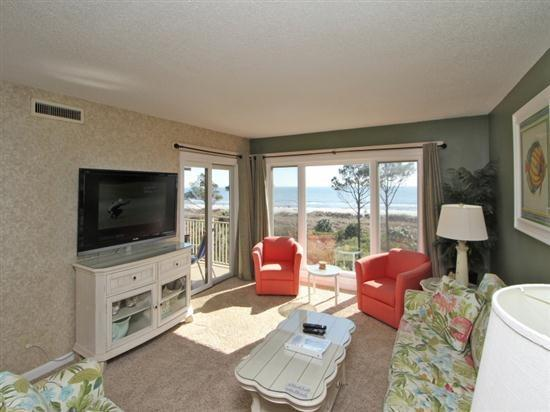 Living Room with Ocean Front Views at 409 Shorewood - 409 Shorewood - Forest Beach - rentals