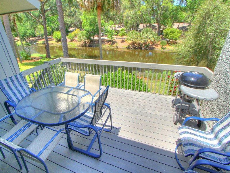 Deck with Lagoon View at 8 Turtle Lane Club - 8 Turtle Lane Club - Sea Pines - rentals