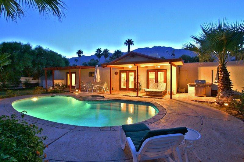 Backyard at Dusk   - Alluring Attainable Pool Home - Palm Springs - rentals