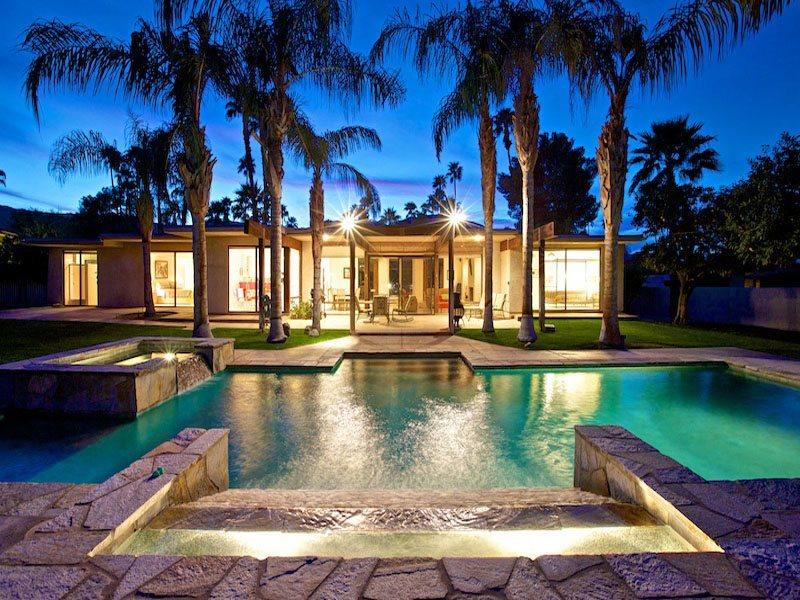 Looking Back to House at Night - House of Zen - Palm Desert - rentals