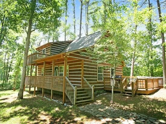 ENCHANTED WOODS--SECLUDED TWO BDR/TWO BA LOG CABIN WITH GAS LOG FIREPLACE, PRIVATE HOT TUB, CHARCOAL GRILL, PETS WELCOME, SLEEPS 7, ONLY $99/NIGHT! - Image 1 - Blue Ridge - rentals