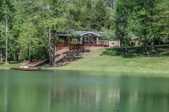 VIEW OF THE CABIN FROM THE LAKE - ALONE AT LAST- 15 MINUTES FROM BLUE RIDGE - Blue Ridge - rentals