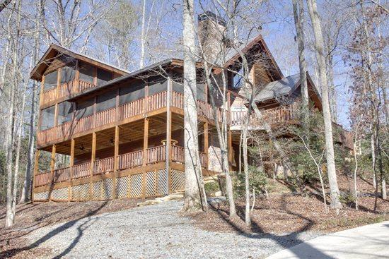 LOWER VIEW OF CABIN - BEAR CREEK CROSSING- 4BR(PLUS LOFT)/3.5BA- SLEEPS 13, CREEK SIDE, SECLUDED, VOLLEYBALL COURT, HORSESHOE PIT, HOT TUB, OUTDOOR FIRE-PIT, WIFI, GAS AND WOOD BURNING FIREPLACES! ONLY $350 A NIGHT! - Blue Ridge - rentals