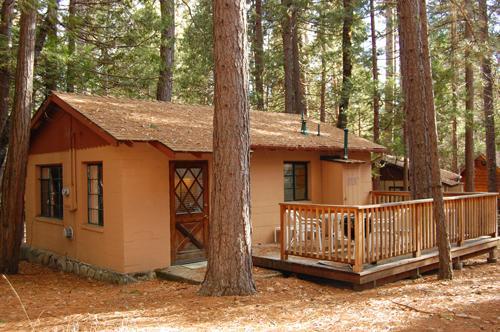 Back deck view - (3) Bassett Cedar Rock Cabin II - Wawona - rentals