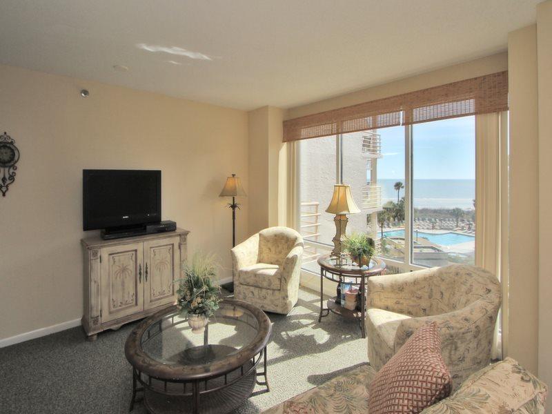 Living Room with Ocean Views at 1404 Villamare - 1404 Villamare - Palmetto Dunes - rentals