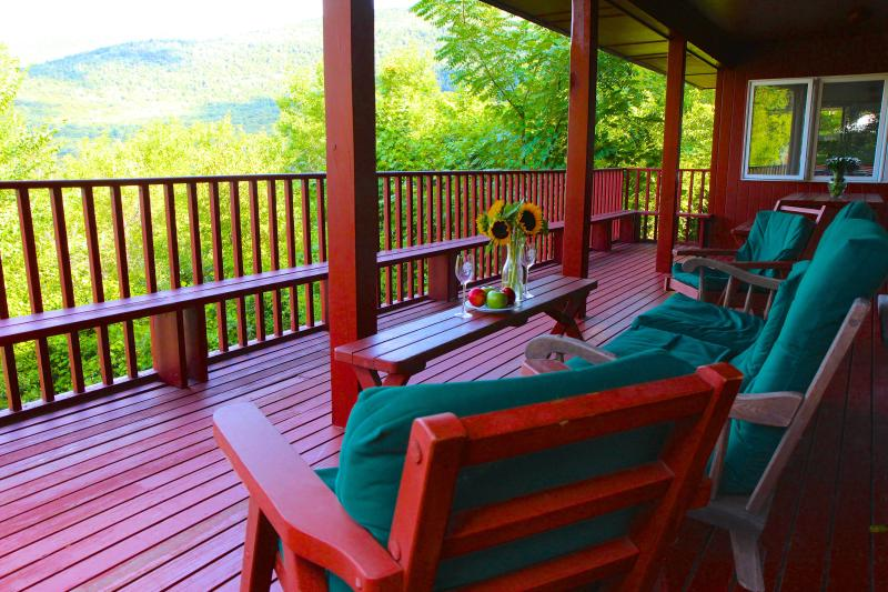 HUGE covered deck with BBQ and stunning mountain views. It feels like a treehouse! - Best views in Vermont! Fireplace, deck, ski, pool - Manchester - rentals