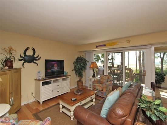 Living Room with Flat Screen at 1415 South Beach Villa - 1415 South Beach Villa - Sea Pines - rentals