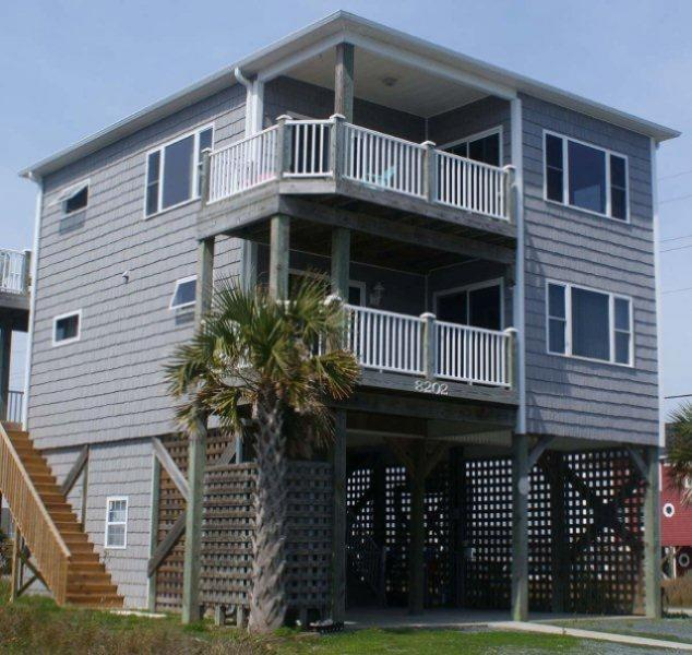 Street Side - 5th Avenue 8202 Oceanview! | Pet friendly, Internet, Fireplace, Jacuzzi - North Topsail Beach - rentals