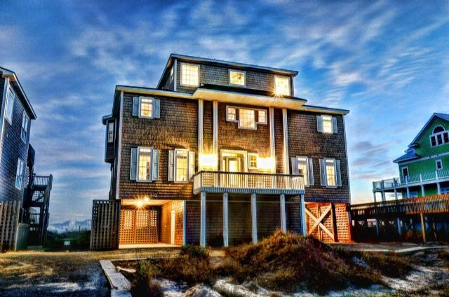 Twilight Shot - Hampton Colony 642 Oceanfront! | Community Pool, Hot Tub, Elevator, Jacuzzi, Internet, Fireplace - North Topsail Beach - rentals