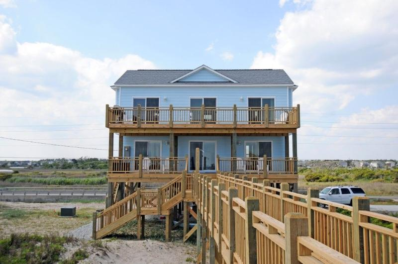 View of House From Beach - New River Inlet Rd 1198 Oceanfront! | Internet, Dune Deck - North Topsail Beach - rentals