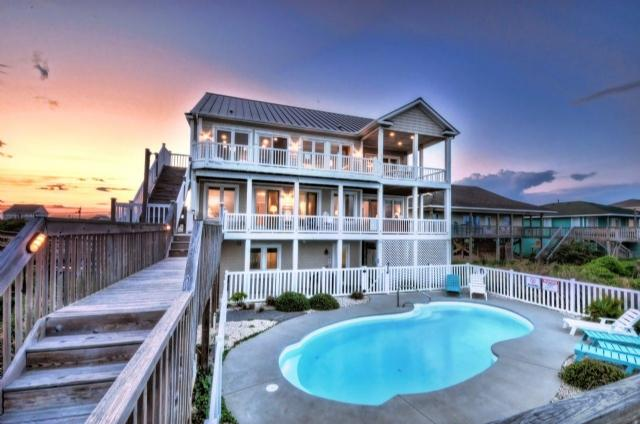 Twilight Shot - N. Shore Dr. 502 Oceanfront! | Private Heated Pool, Hot Tub, Elevator - Surf City - rentals
