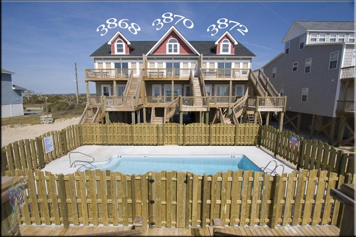 Main View - Island Drive 3872 Oceanfront! |Shared Pool, Internet - North Topsail Beach - rentals