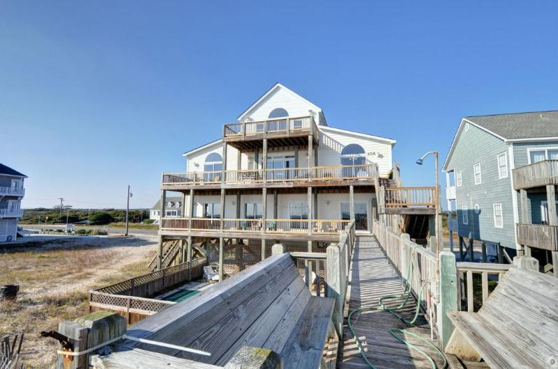 Beach View of House - New River Inlet Rd 406 Oceanfront! | Private Heated Pool, Hot Tub, Jacuzzi - North Topsail Beach - rentals