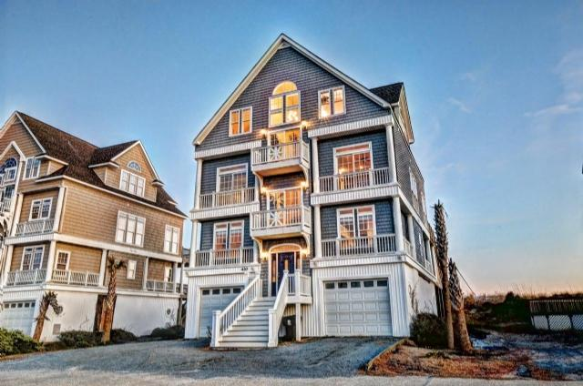 Twilight Shot - New River Inlet Rd 430 Oceanfront! | Hot Tub, Elevator, Internet, Jacuzzi, Fireplace, Wedding Friendly - North Topsail Beach - rentals