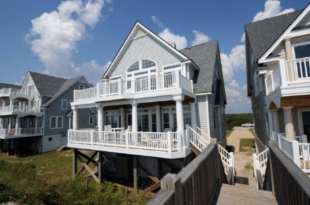 View of House From Beach - Island Drive 4256 Oceanfront! | Internet, Community Pool, Hot Tub, Jacuzzi, Fireplace. Discounts Available- See Description - North Topsail Beach - rentals