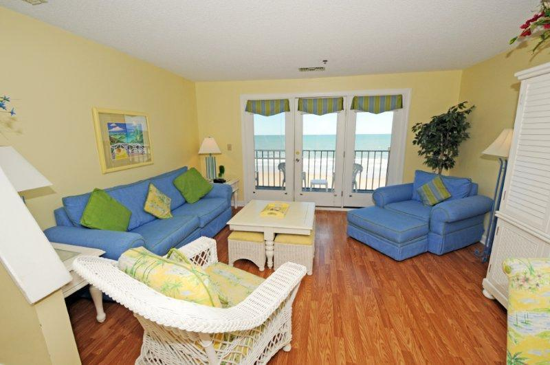 Living Room - Villa Capriani 317-B Oceanfront | 3 Pools, Largest Pool on NC Coast, 2 Hot - North Topsail Beach - rentals