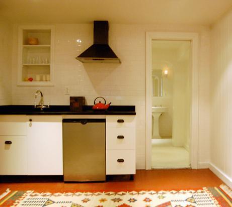 Kitchenette w/Dressing Area & Bathroom in background - Stylish Studio: 15 min to Downtown Manhattan - Brooklyn - rentals