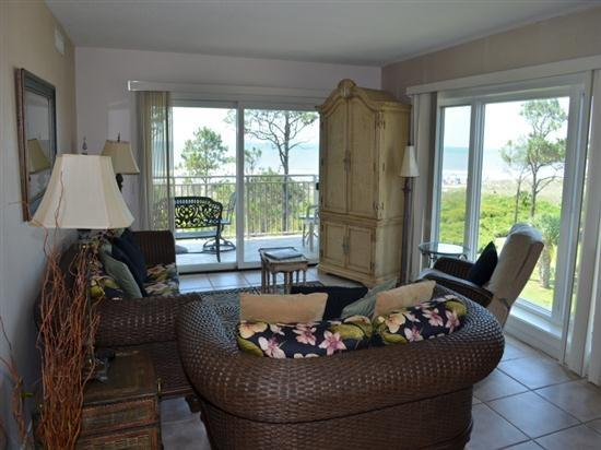 Living Room with Beautiful Ocean Views at 407 Shorewood - 407 Shorewood - Hilton Head - rentals
