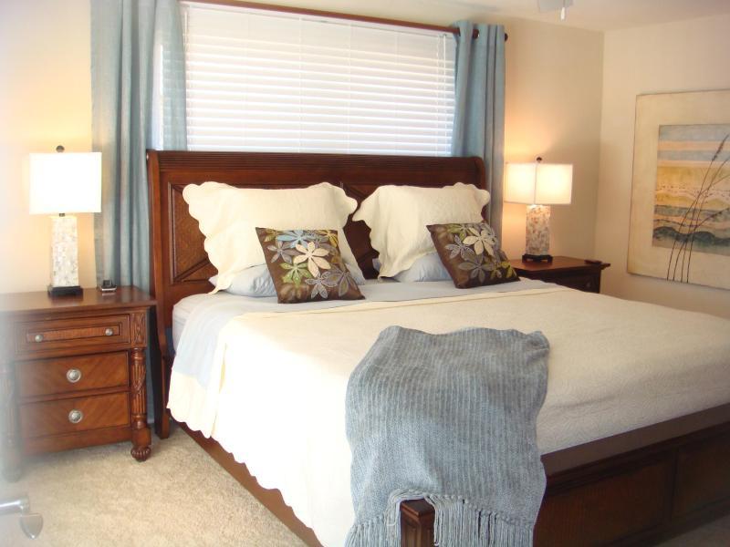 Master bedroom w/Flat screen TV & king size bed and ensuite bathroom - Waterfront- Walk to Vanderbilt Beach - Gulf Access - Naples - rentals