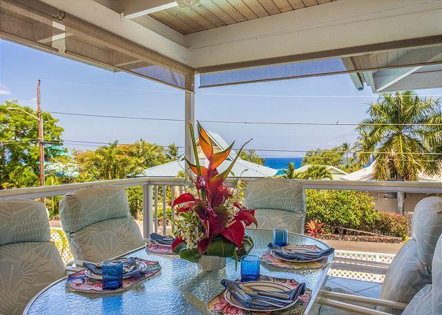 Lanai with ocean view - Akai -3 bedroom 2.5 bath with pool and ocean view 5 min walk to beach. - Kailua-Kona - rentals