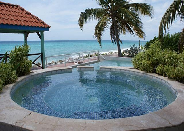 Oceanfront common pool - Il Punto Blu: 3 bedroom on the beach in Pelican Key | Island Properties - Saint Martin-Sint Maarten - rentals