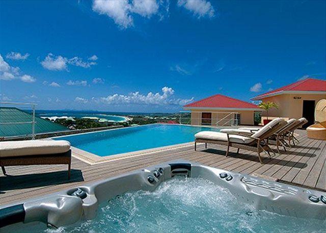 Large private pool, deck and Jacuzzi - Eden View: 4 Bedroom Villa overlooking Orient Bay Beach | Island Properties - Saint Martin-Sint Maarten - rentals