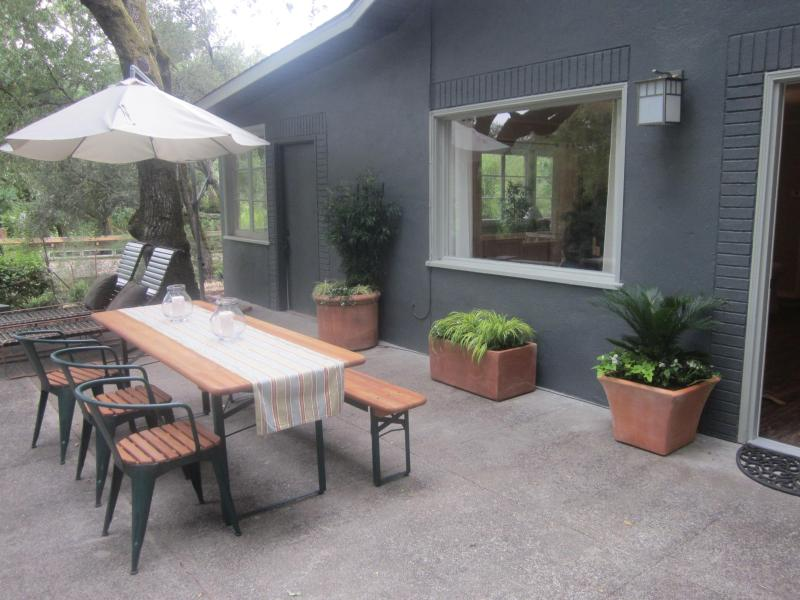Enjoy your days and evenings on the exceptionally large patio. - Charming Wine Country Cottage in Serene Setting - Glen Ellen - rentals