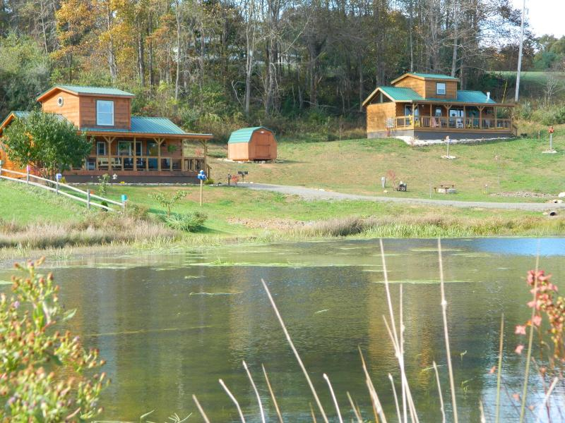"Two cabins overlooking a stocked mountain pond. - ""Its Five O'Clock Here"", Hot Tub, waterfront and BRPW cabin - Fancy Gap - rentals"