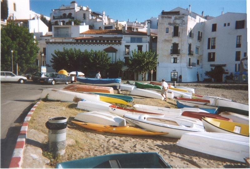 boats in front of the house The house is behind the trees gives shadow in summer large terrace. - 7 Bedroom House first line beach in the heart of Cadaques Spain - Cadaques - rentals