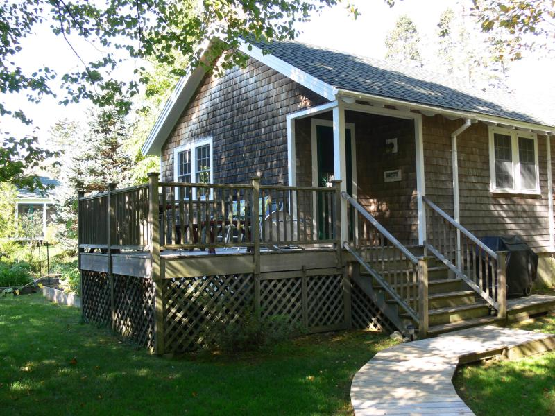 Entrance with deck - Summer Cottage Nestled in the Woods - Southwest Harbor - rentals