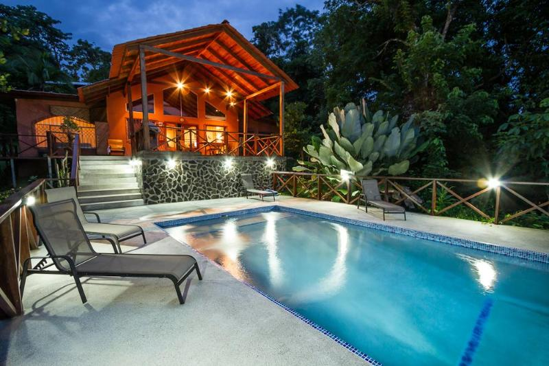 Pool with view of covered deck - Ooh-La-La. Paradise found. Walk to everything - Manuel Antonio National Park - rentals
