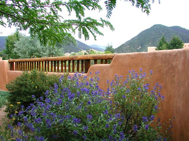 Front patio, summer flowers and Taos Mountain views - Casa Luminosa Compound - Taos - rentals