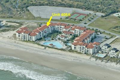 Aerial view showing location of Unit 408A - Villa Capriani 408A - North Topsail Beach - rentals