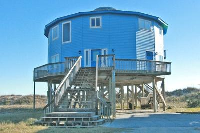 Streetside view showing unique circular shape - 'A Flick's Fantasea - North Topsail Beach - rentals