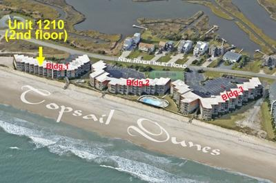 Aerial view showing location of unit - Topsail Dunes 1210 - North Topsail Beach - rentals