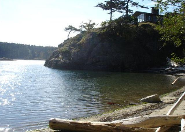 from the beach, looking up to the home. - Serenity Point on Lopez Island - Lopez Island - rentals
