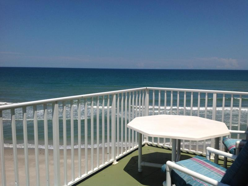 Extra large oceanfront balcony off of guest bedroom - 3 Bd - Penthouse - Oceanfront - Private Hot Tub - Satellite Beach - rentals