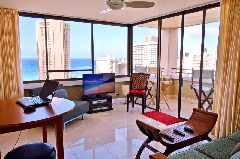 40 inch HDTV, the windows and the view make it look smaller than it is. - LuxOceanViewHiRise/Waikiki - Honolulu - rentals