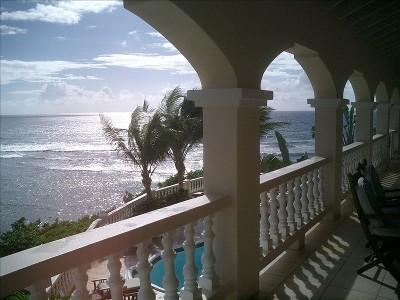 Balcony view overlooking the pool and ocean at Paradise Point, St. Croix - Paradise Point, Luxury Beach Villa, St. Croix - Christiansted - rentals