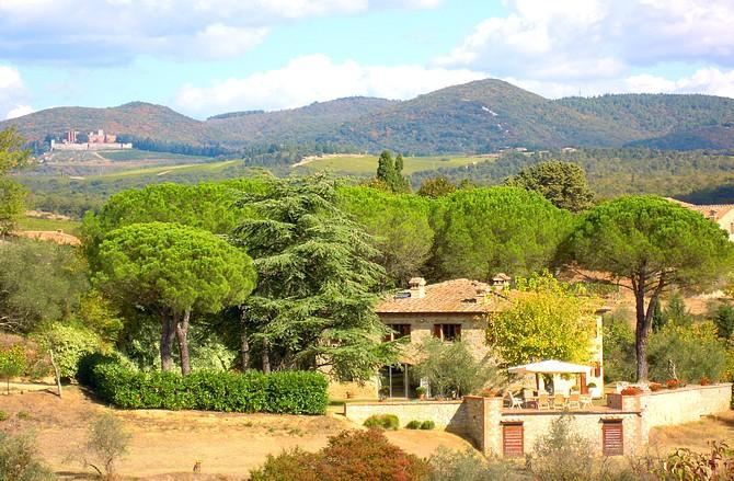 The Villa and view of Brolio Castle - Podere Lucignano Secondo - Apt. La Mangiatoia - Gaiole in Chianti - rentals