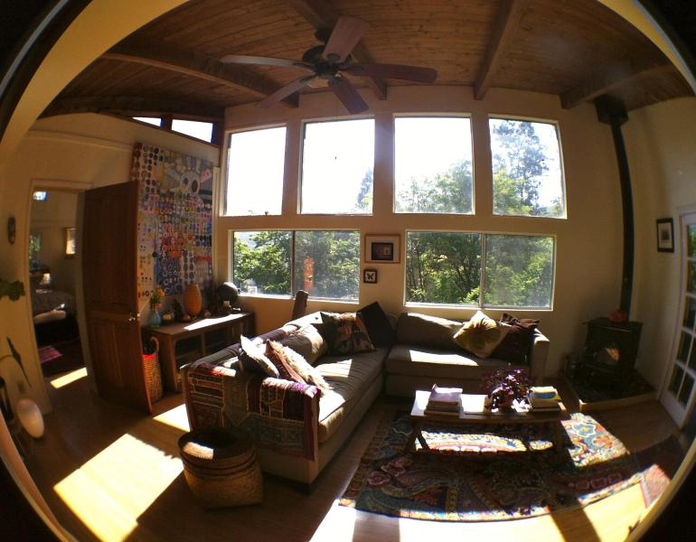 The Living room with huge picture windows looking onto Topanga State Park. - Two Oaks Topanga House - Topanga - rentals