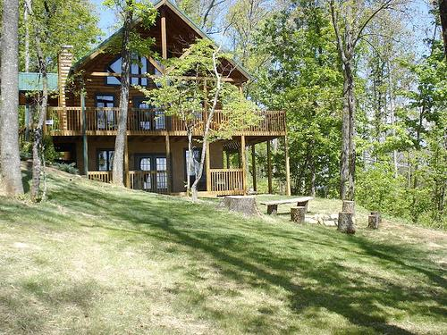 Front of Cabin, with fire pit - 1 Acre Luxury CampFire Pit Secluded Wifi Hot Tub - Sevierville - rentals