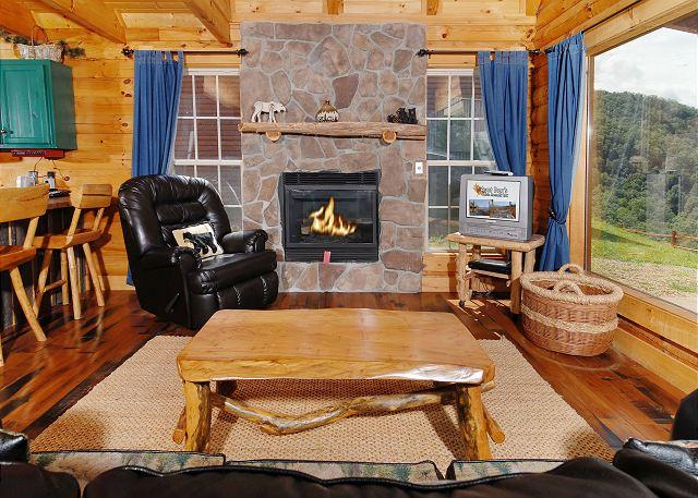 Awestruck #170- Living Room with Fireplace & TV - 1 Bedroom Log Cabin Amazing Smoky Mountain View Wears Valley Pigeon Forge TN - Sevierville - rentals