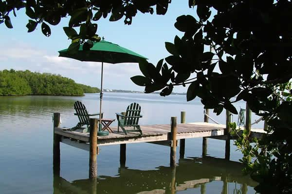 View of the bay and the private dock - Gasparilla Villa-Private Dock, 6 Kayaks, Internet - Little Gasparilla Island - rentals