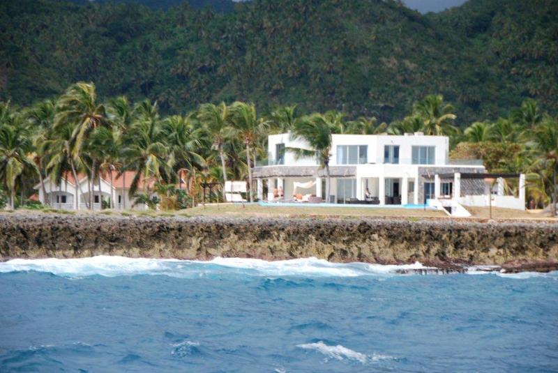 Here's the villa as seen by passing cruise ships, sailboats, whale watching boats and fishermen. - Private Beach-4 Master Bedrooms-Ocean Front Villa - Las Galeras - rentals