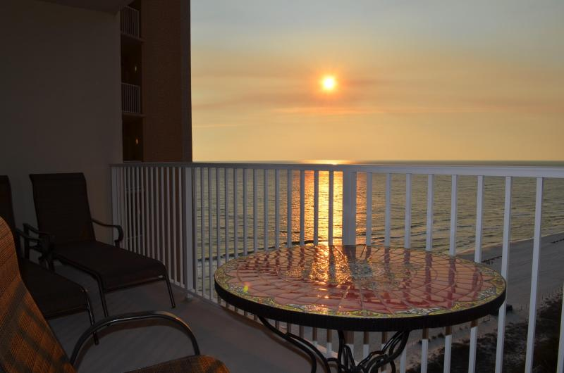 Sunset from the balcony - 1BR+Bunk BR Luxury condo on 14th Floor at Shores - Panama City Beach - rentals