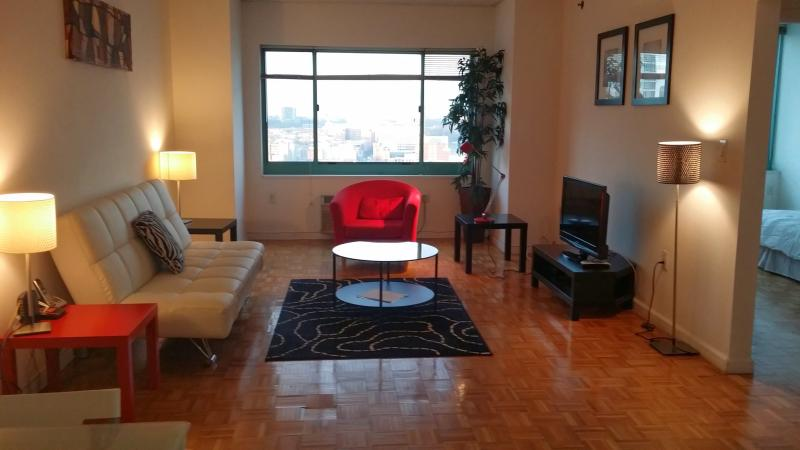 Living Room with contemporary furniture - Manhattan Views, High Rise, Waterfront 1 bed room - Jersey City - rentals