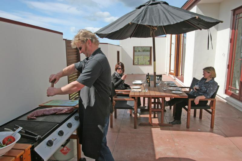 Private courtyard with Barbeque facilities - Askerne Winery Cottage - Havelock North - rentals