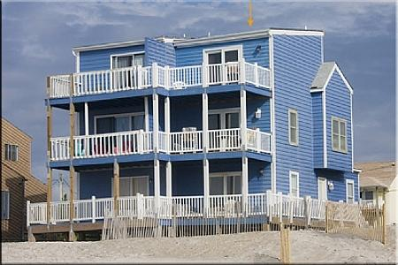 Ocean Side View of Blue House - Blue House, 2334-2 New River Inlet Rd, North Topsail Beach, NC - North Topsail Beach - rentals